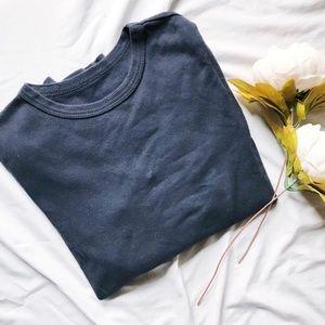 Brandy Melville Basic Navy Long Sleeve Cotton Top